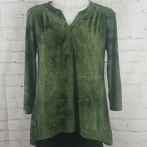 Sami & Jo green long sleeve top with embroidery